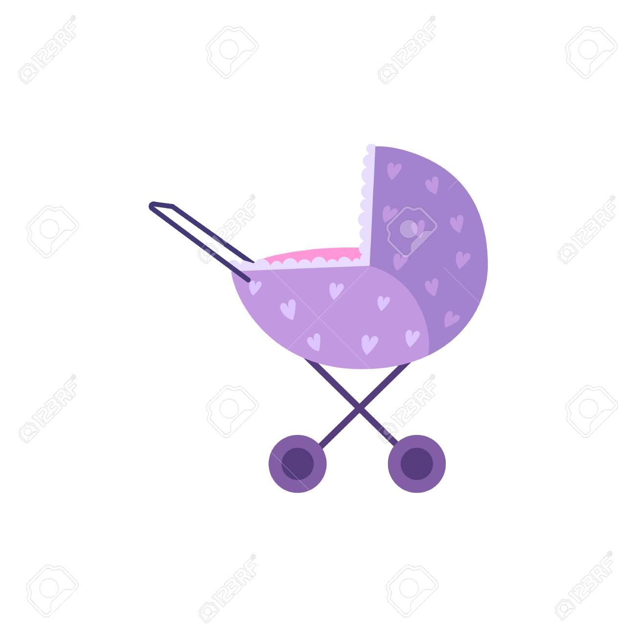 Vector de dibujos animados cochecito de bebé o cochecito, cochecito de niño de color morado perambulator. Ilustración aislada en un fondo blanco.