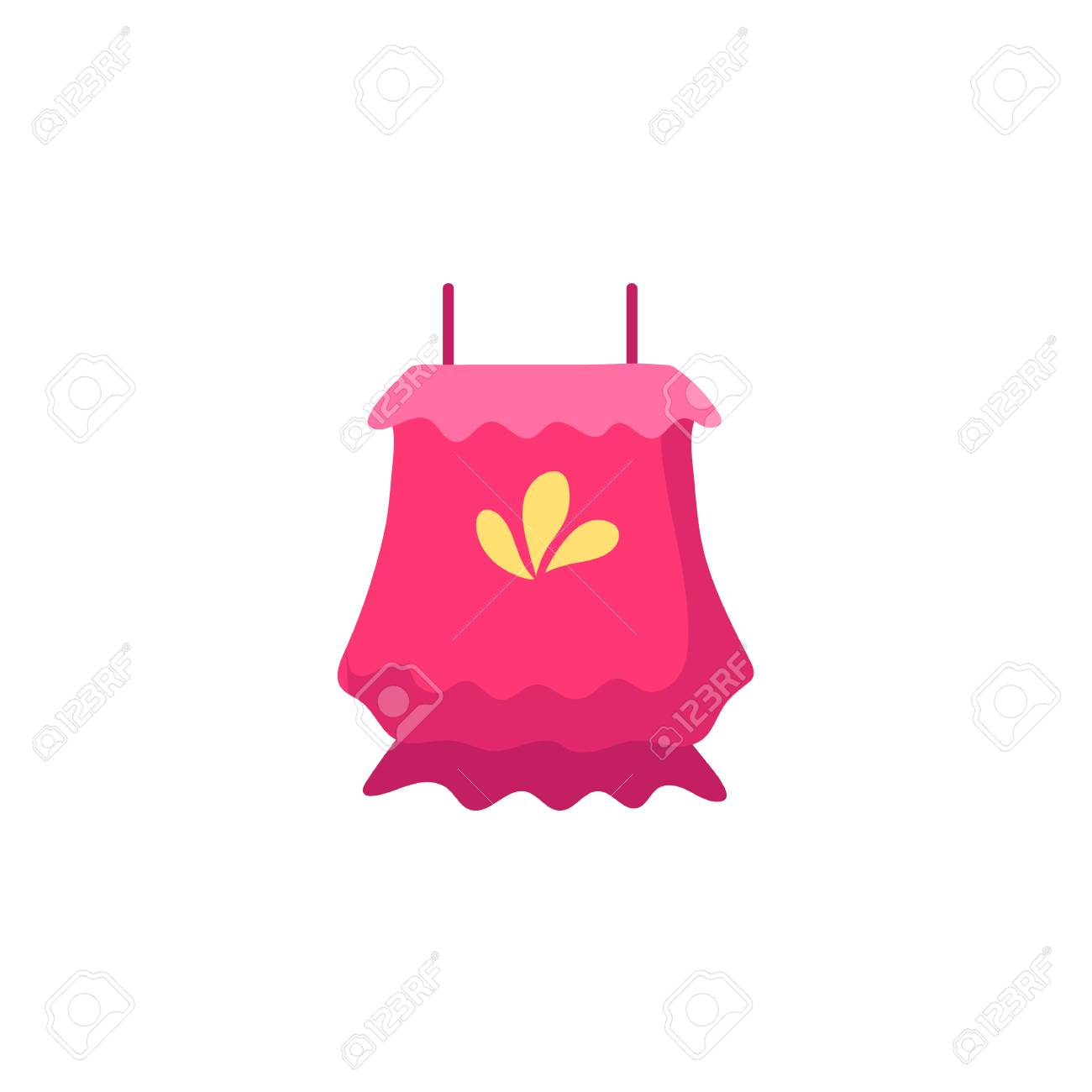 Pink colored sleeveless flounce summer top with spaghetti shoulder straps, flat cartoon vector illustration isolated on white background. Flat cartoon summer top with spaghetti shoulder straps - 92126776