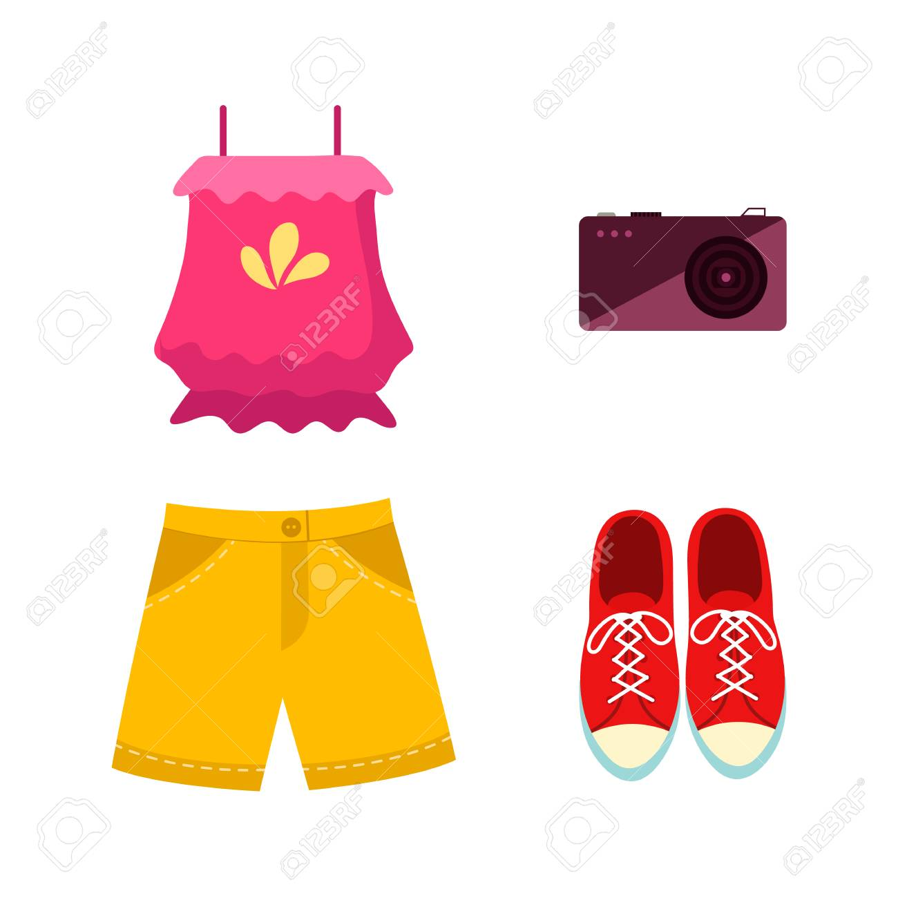 vector flat woman outfit apparel accessories set. Red sneakers, mobile photo camera, yellow shorts and pink funny backpack. Fashionable trendy Isolated illustration on a white background. - 92137020