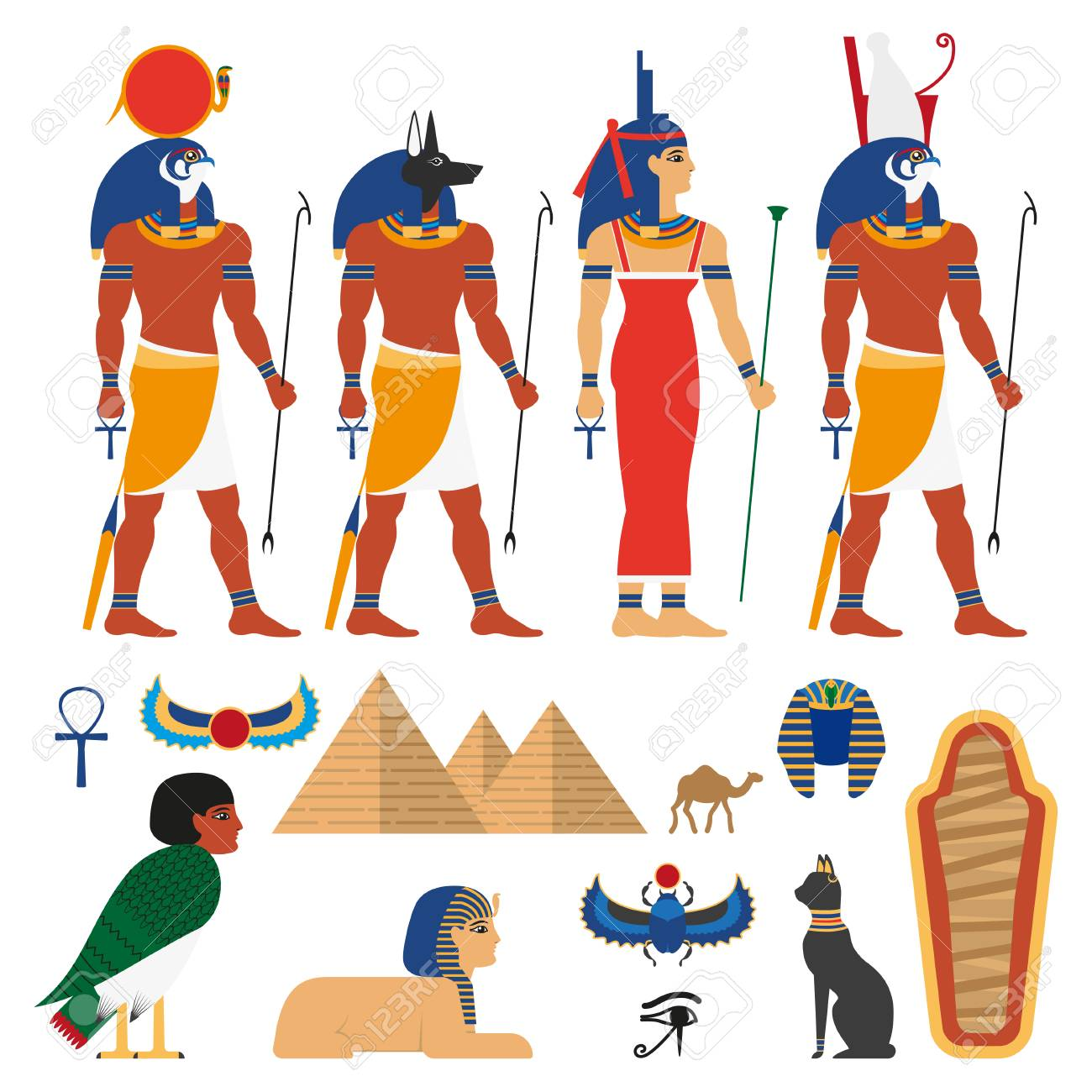 Egypt Gods And Sacred Symbols Set Composed Of Anubis God With