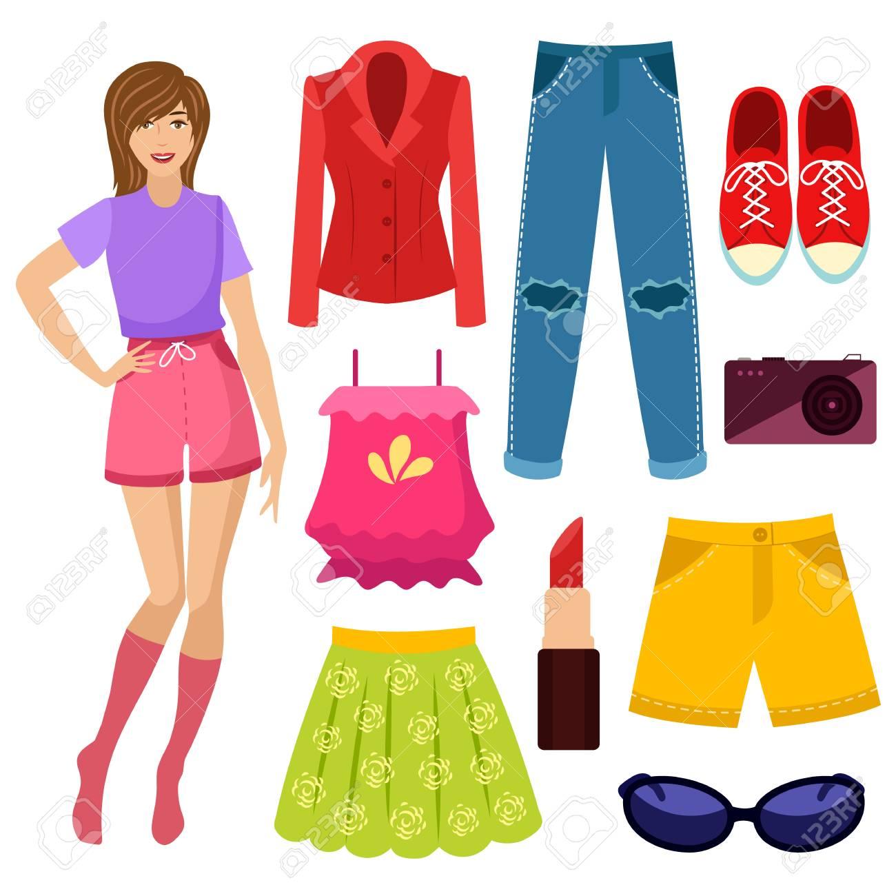 nueva colección 54ccd 121bf Mujer joven, niña y su armario de verano, ropa y accesorios, ilustración  vectorial de dibujos animados aislado sobre fondo blanco. Retrato de  dibujos ...