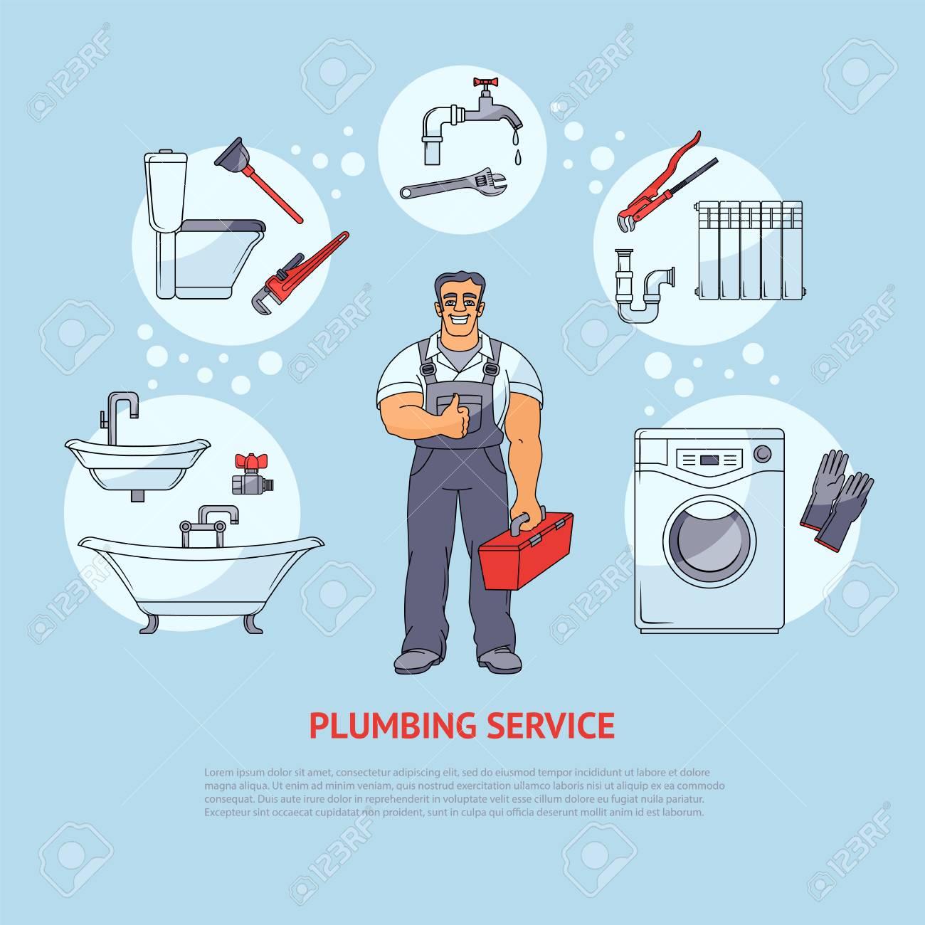 plumbing banner poster leaflet design showing smiling plumber