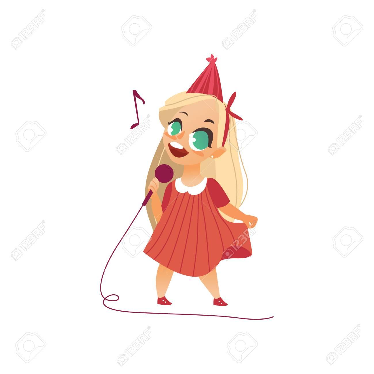 Alone Cartoon Girl flat cartoon girl kid singing at microphone standing alone in..