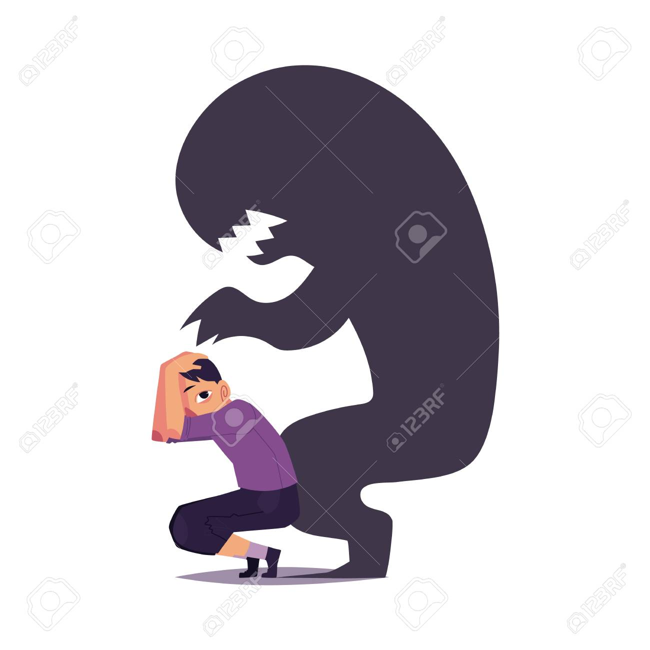 Fear, phobia shown as scary black monster shadow hanging over frightened man, cartoon vector illustration isolated on white background. Concept of mental disorder, phobia, fear as black monster shadow. - 93751793