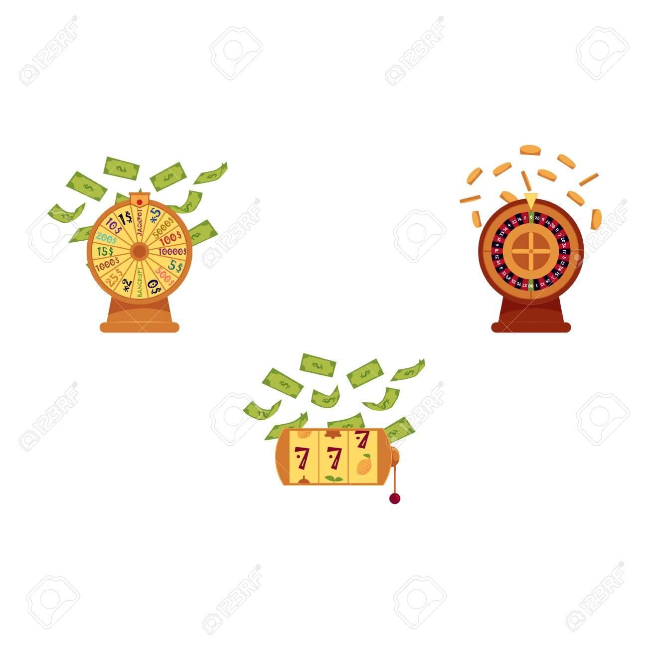Vector Flat Casino Symbols Icon Set Gambling Lucky Wheel Of