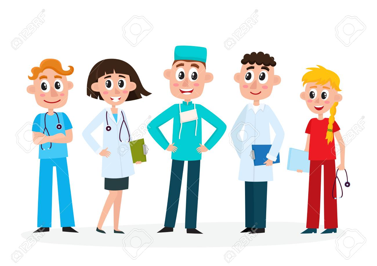 Set Of Doctors Nurse And Surgeon Medical Staff Hospital Employees
