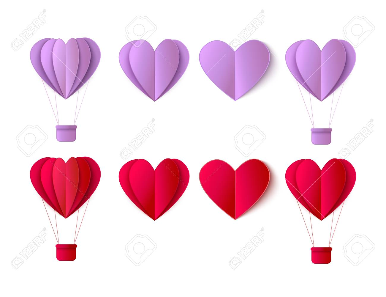 Happy Valentines Day Origami Paper Red Hearts Hot Air Balloon