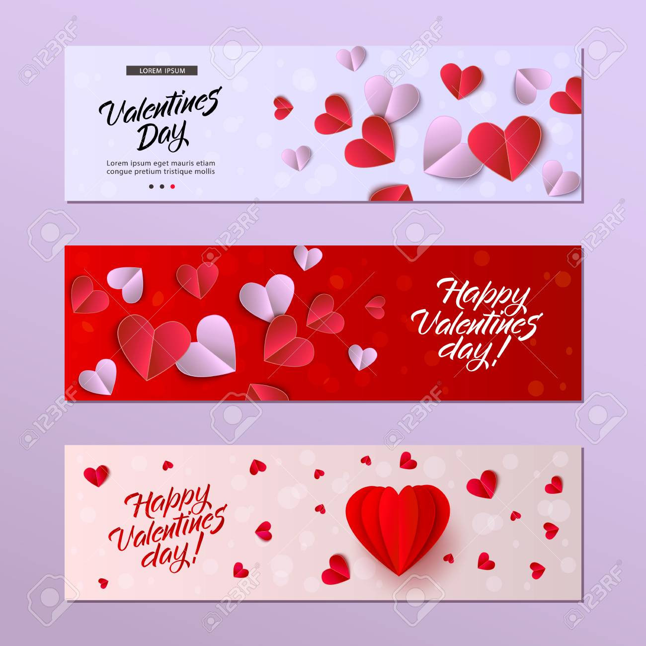 Vector Happy Valentines Day Cards Template Set Origami Paper