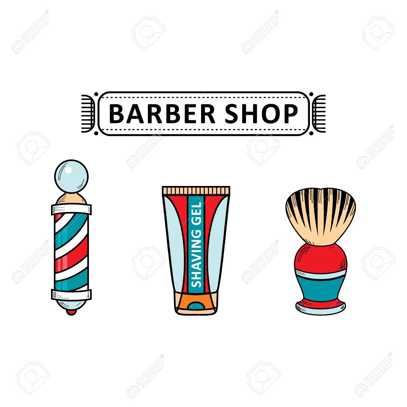 vector flat barber shop tools set shaving brush barber pole rh 123rf com Barber Pole Images Free Barber Shop Pole Vector