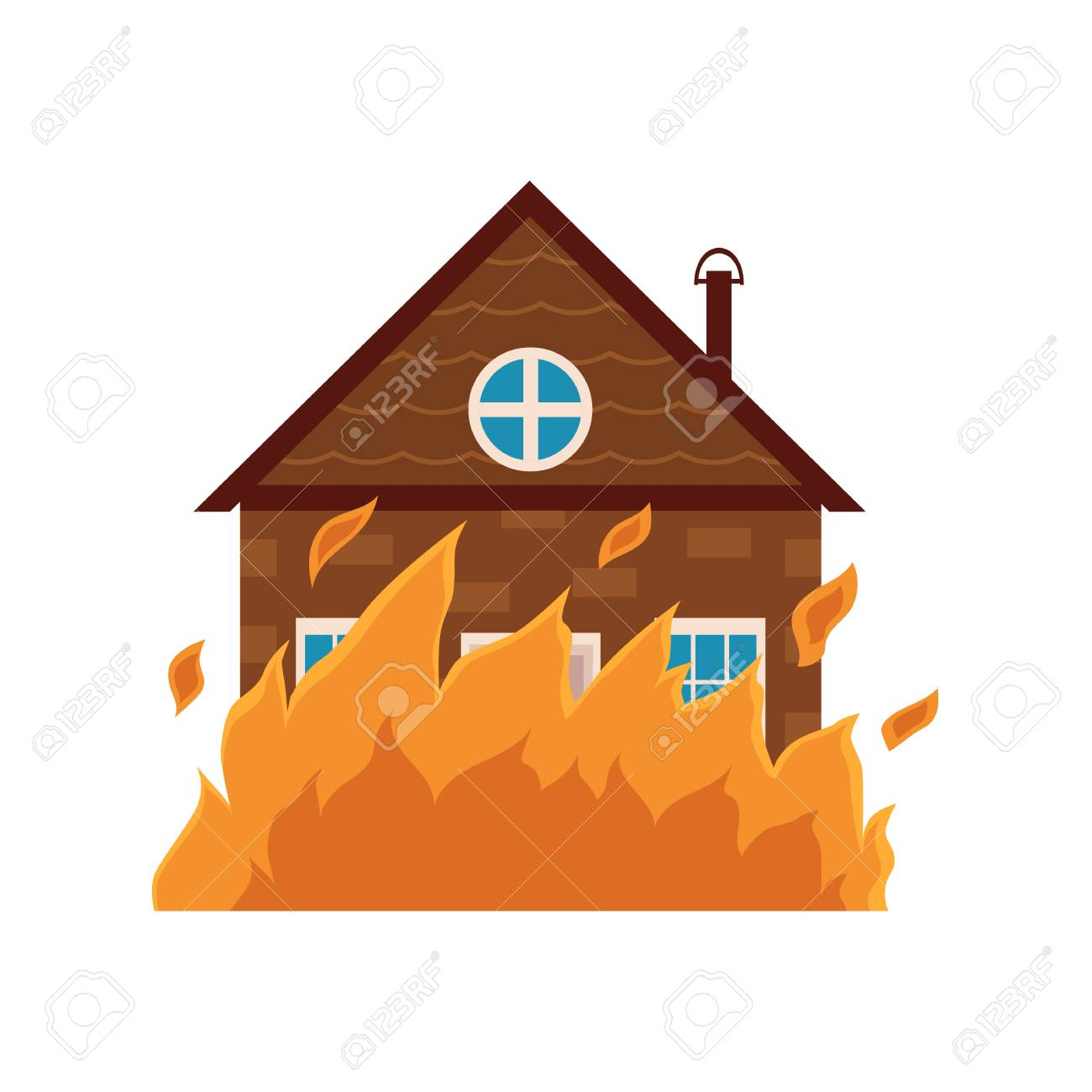 Cottage House Burning Fire Insurance Concept Icon Cartoon Vector