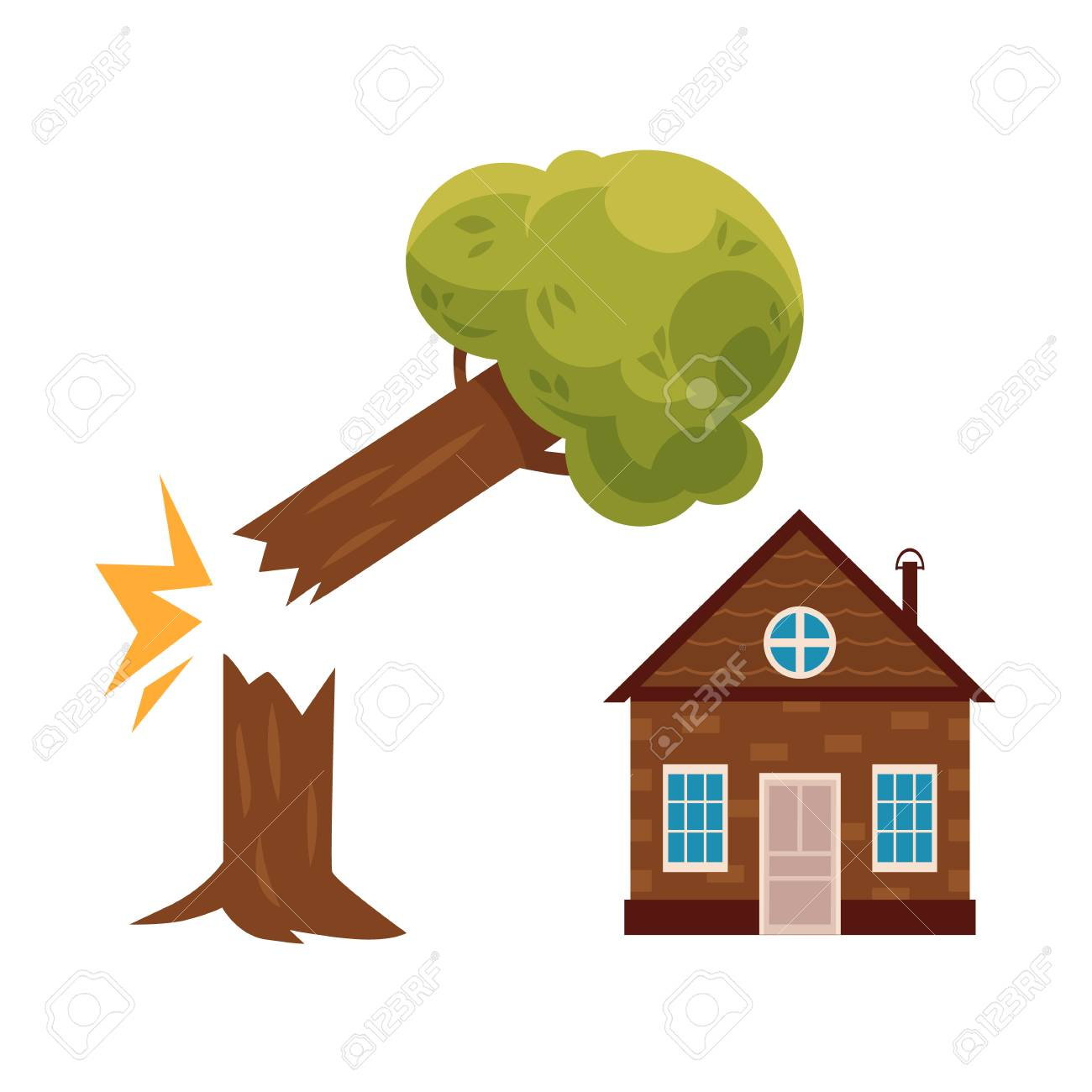Broken Tree Falling On Cottage House Property Insurance Concept Royalty Free Cliparts Vectors And Stock Illustration Image 93758316 Seasonal symbol with leaves falling, beautiful cartoon artwork. broken tree falling on cottage house property insurance concept