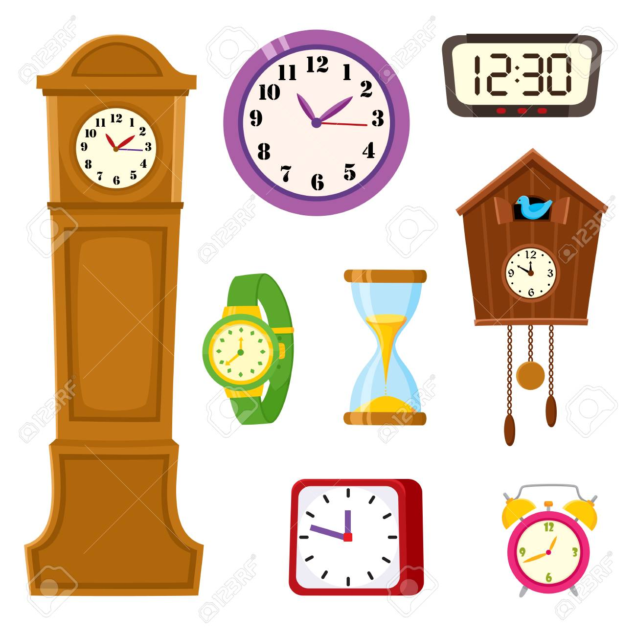 Set of clocks and watches - alarm, tower, cuckoo, wristwatch, hourglass, cartoon vector illustration isolated on white background. Set of alarm and cuckoo clock, hourglass, tower and wristwatch icons. - 93755043