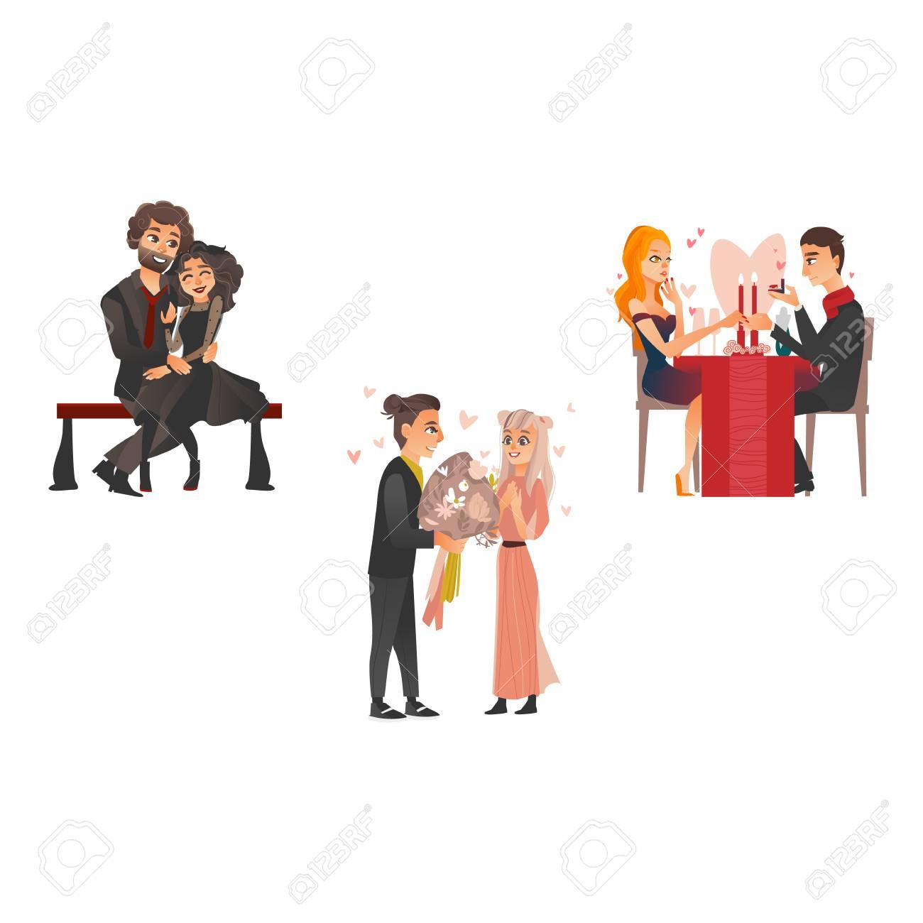 Vector Bonitos Casais Apaixonados Namorando No Dia Dos Namorados