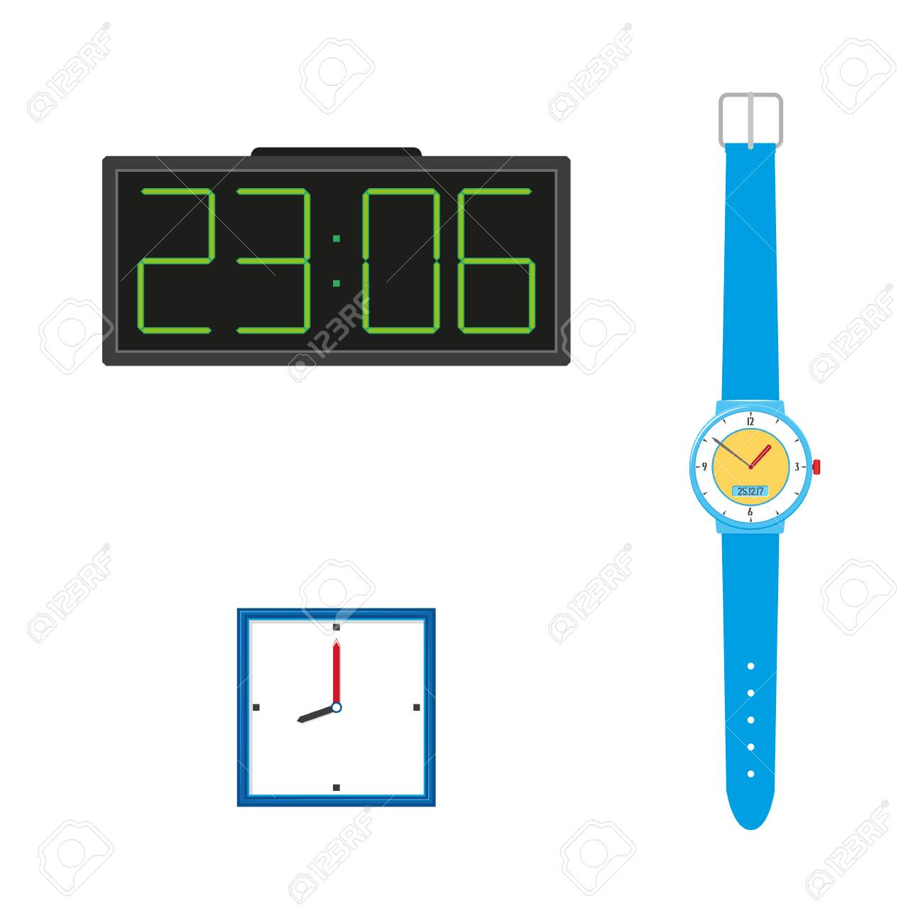 15d4253afa Vector - Vector flat analog wall mounted simple modern square white colored  clocks with blue frame, digital table clock, wrist watches icon for your  design.