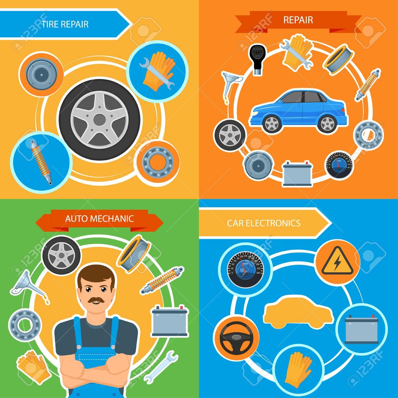 Car Repair And Maintenance >> Vector Flat Car Repair Maintenance Mechanics Services Infographic