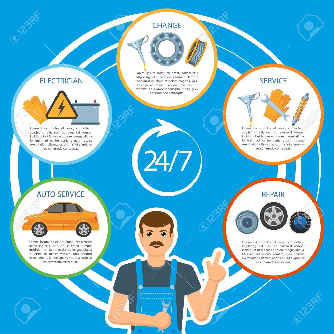 24 Hour Oil Change >> Vector Flat Car Repair 24 Hour Maintenance Mechanics Services