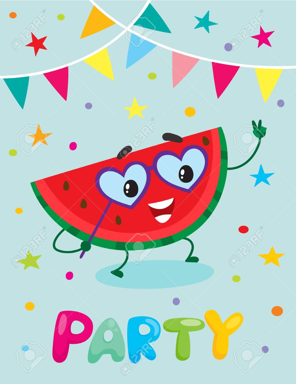 party banner flayer invitation template with cartoon watermelon