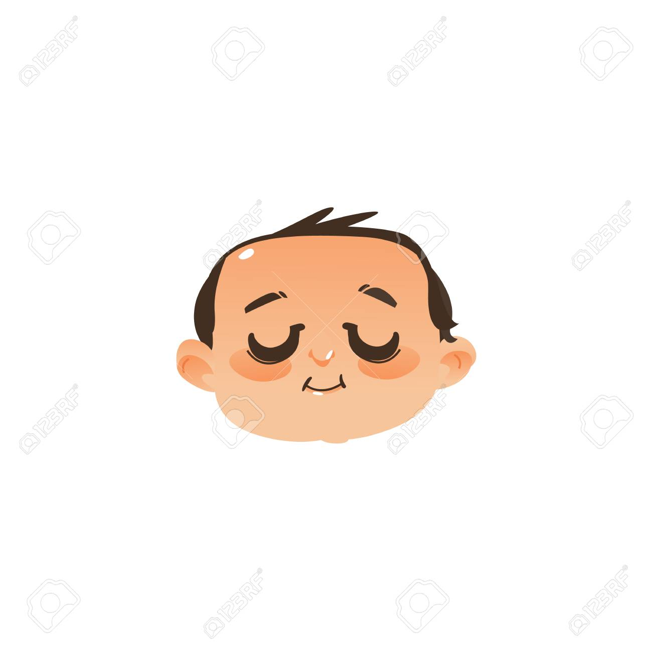 comic style sleeping baby face head icon with closed eyes flat