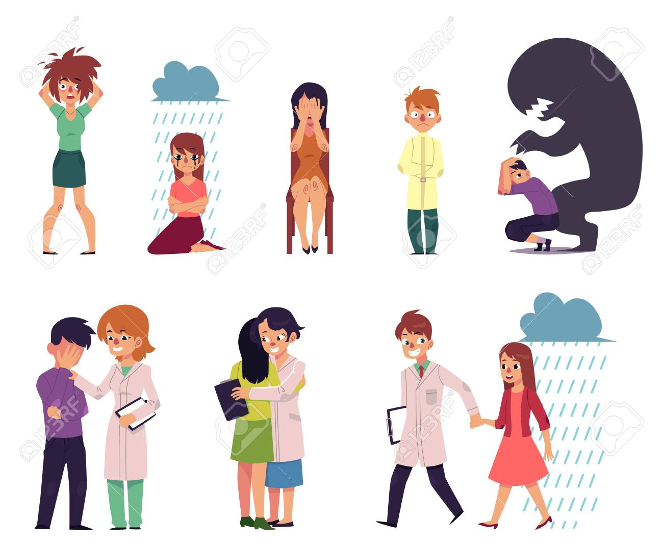 vector flat mental illness, disorder set. Male, female characters suffering from anxiety, depression fear madness grief and man, woman doctors helping. Isolated illustration white background - 95326763