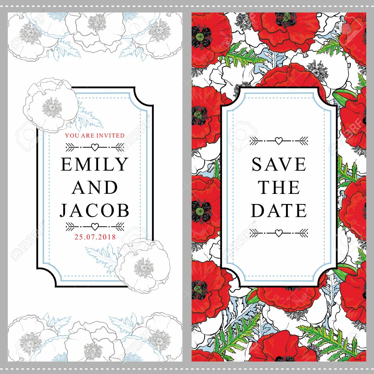 Set Of Two Wedding Invitation Designs With Beautiful Hand-drawn ...