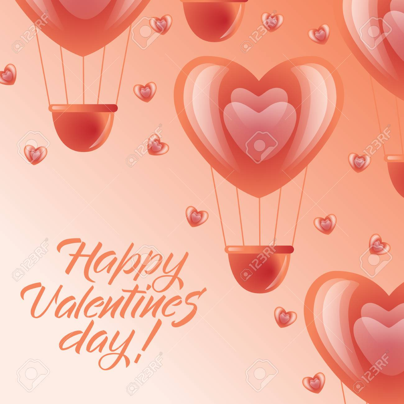 Happy Valentines Day Greeting Card Design With Red And Pink