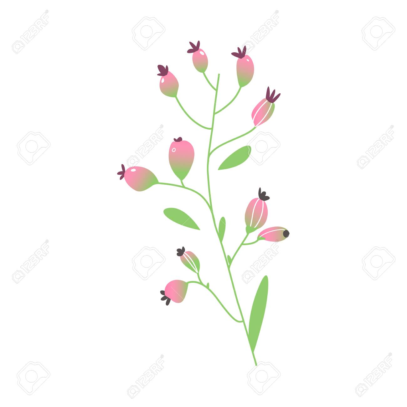 Vector Cartoon Abstract Pink Flower Icon Royalty Free Cliparts