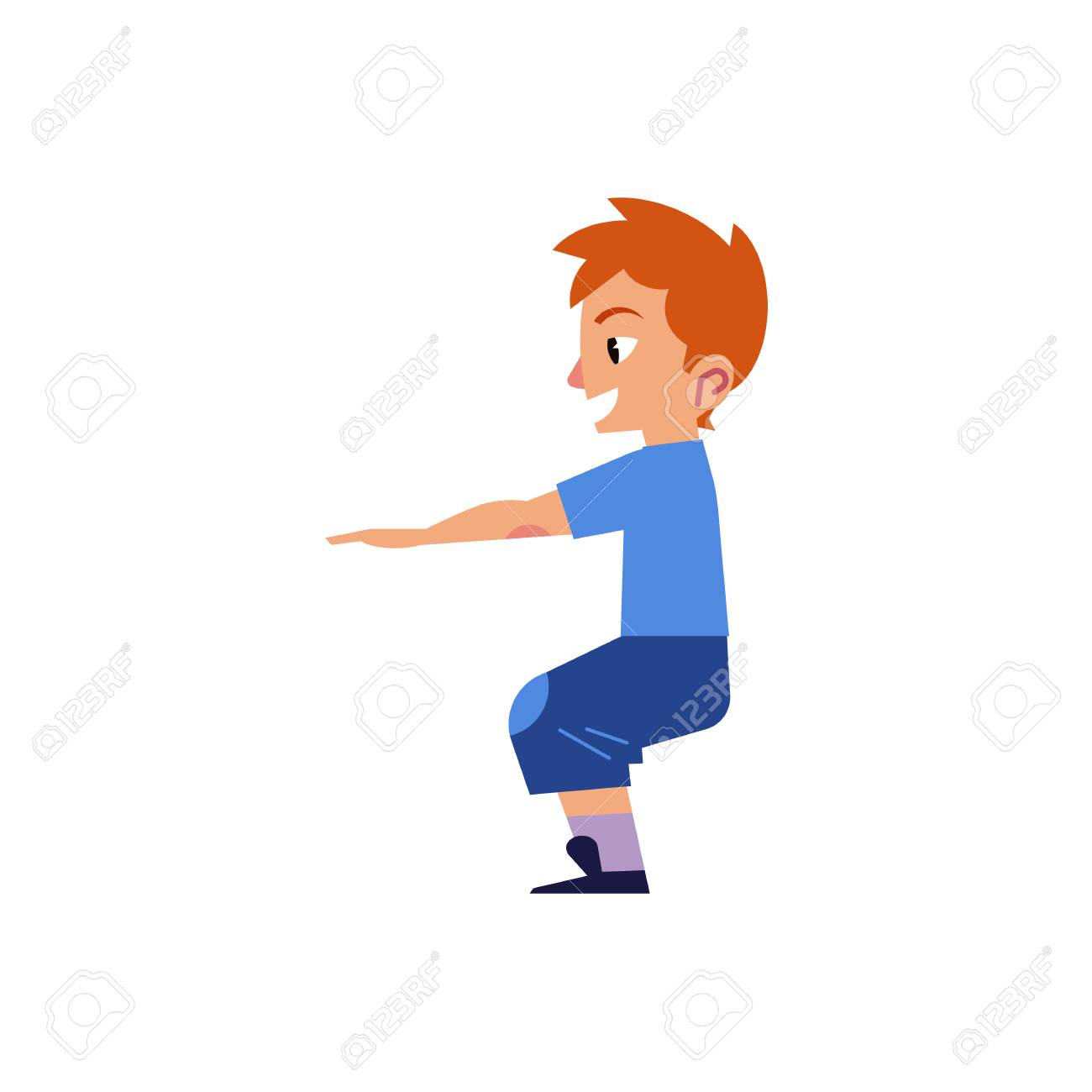 Vector Cartoon Young Kid Boy Man In Casual Clothing Doing Squat
