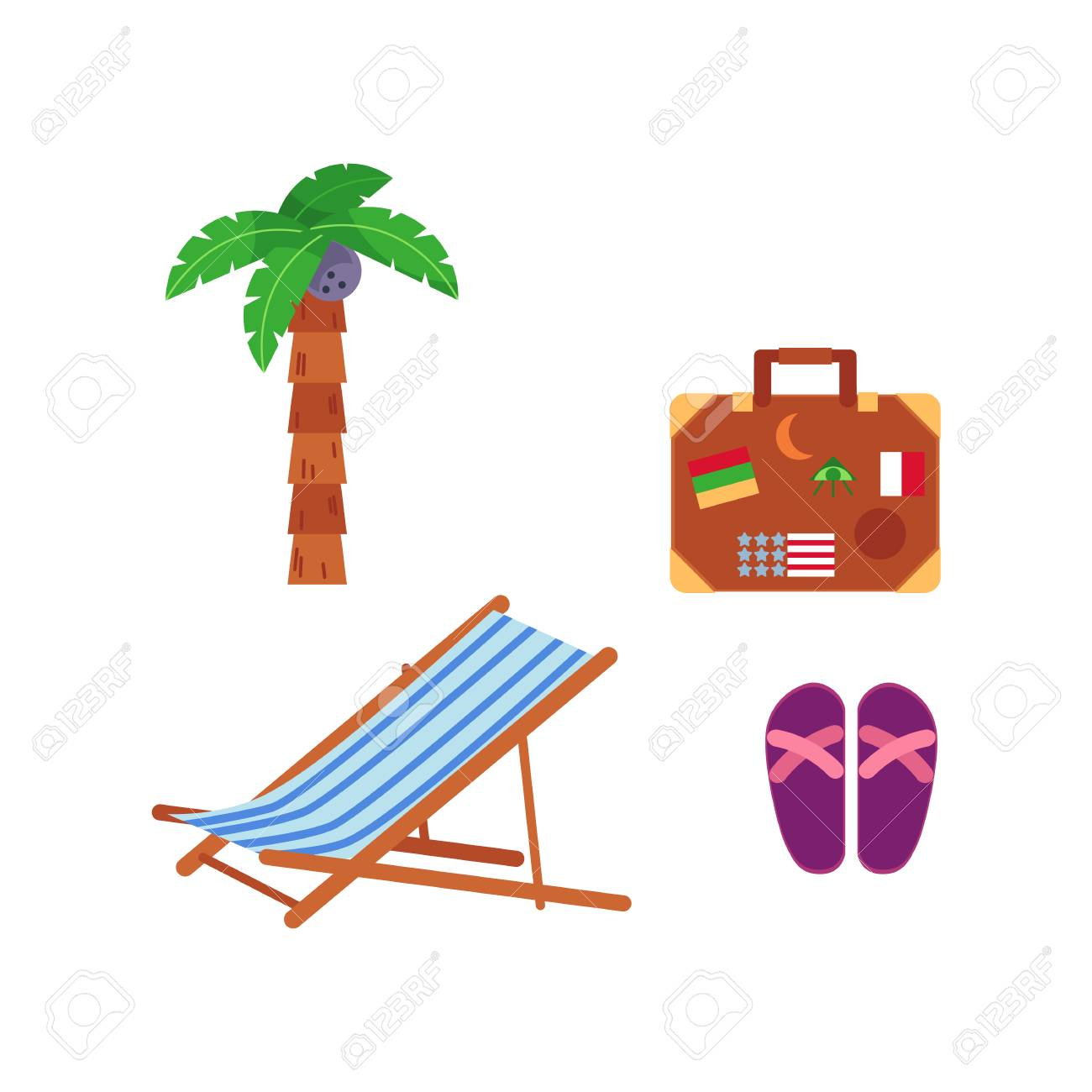 Vector Flat Travelling, Beach Vacation Symbols Icon Set. Summer ...