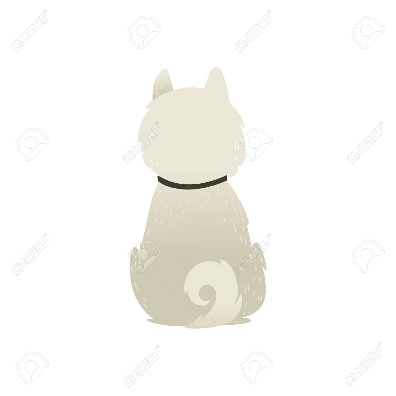 白い背景に一人で座っている犬のバックビュー ベクトルイラスト 襟と渦巻く尾が私たちの裏側に座っているふわふわした白い子犬 のイラスト素材 ベクタ Image