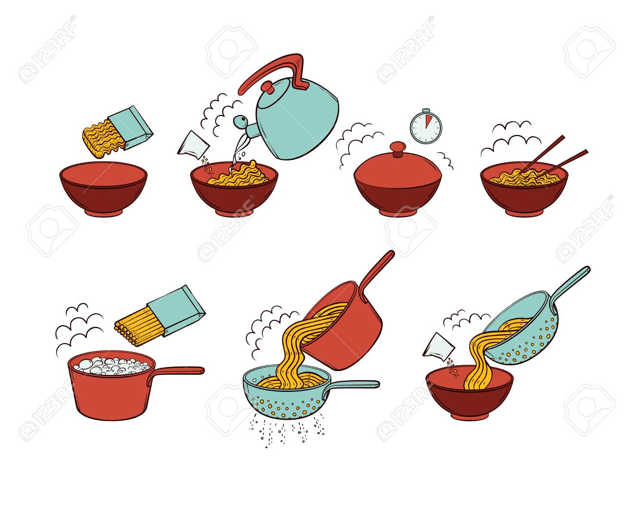 Step by step instant noodle and pasta cooking instructions, hand drawn, sketch style vector illustration isolated on white background. Cooking instant noodles and spaghetti, hand-drawn instructions - 98758787