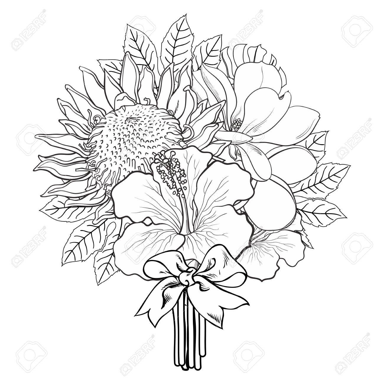 Tropical flowers and palm leaves in bouquet with bow in sketch style isolated on white background