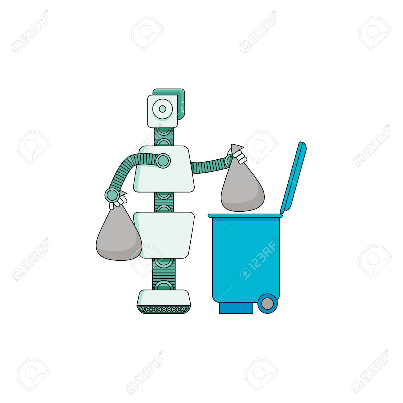 Robot doing housework - android taking out trash in tank isolated