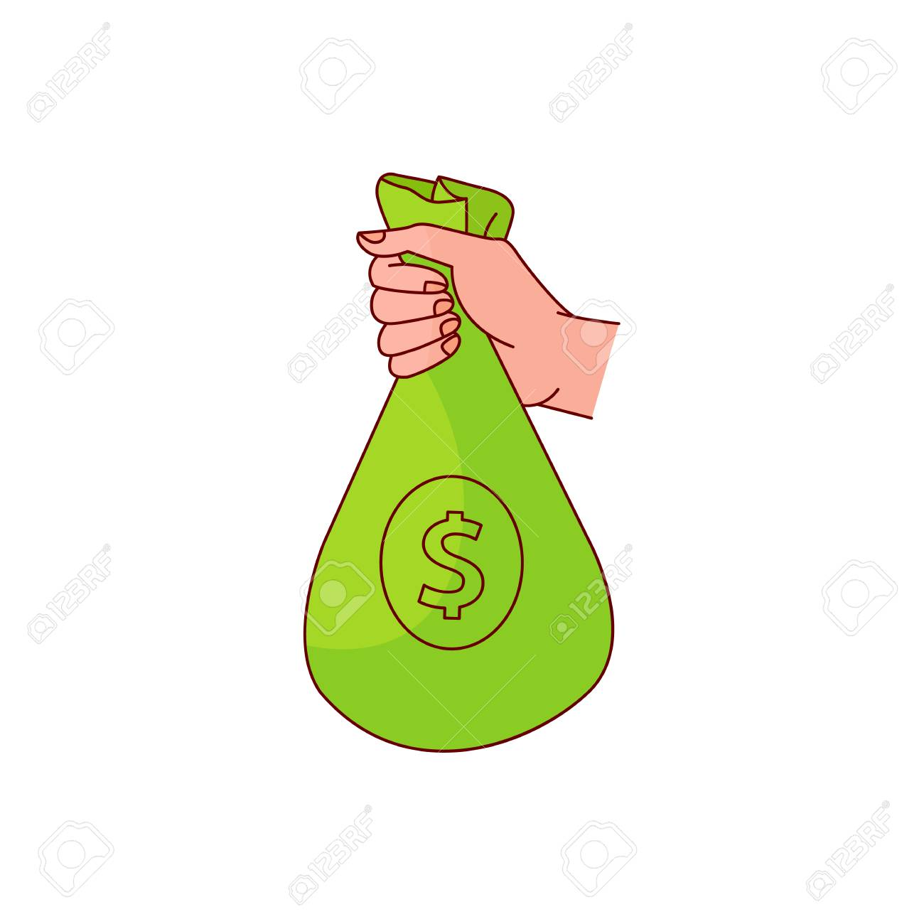 sketch man hand holding green bag with dollar sign icon  Bag