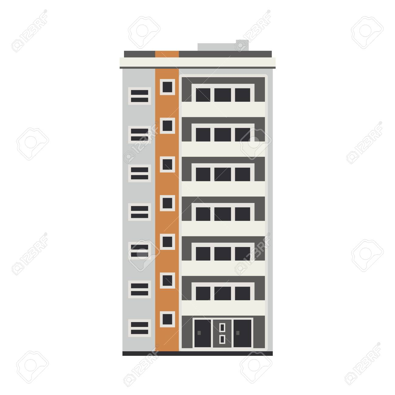 Apartment building house exterior icon. City modern architecture, dormitory area object. Dwelling house, residental building skyscraper. Cityscape design element. Vector flat illustration - 100174808