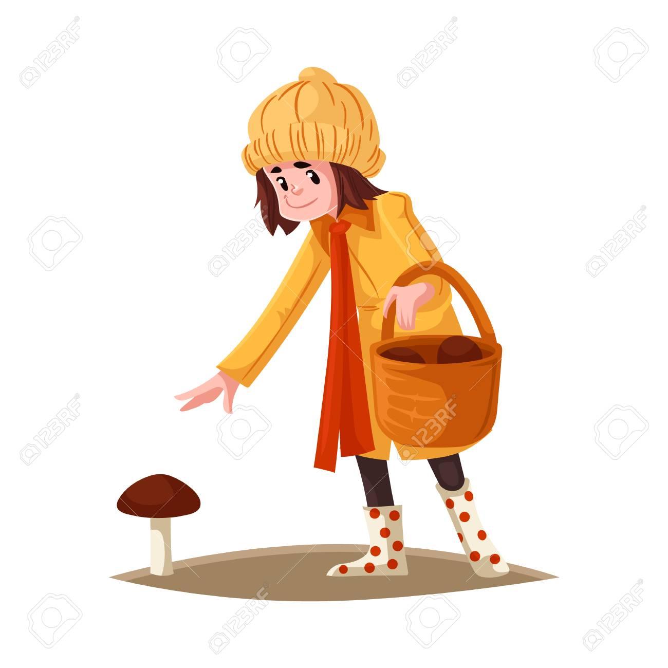 Cartoon Girl Kid In Autumn Outdoor Clothing Collecting Mushrooms