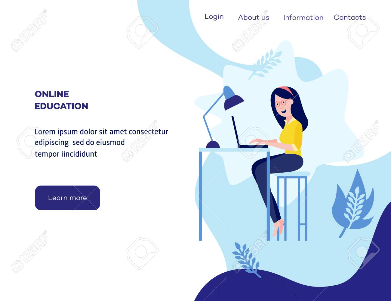 Online distant education concept poster with young girl student sitting at desk typing on laptop smiling on blue background with abstract shapes, leaves, space for text. Vector cartoon illustration - 101761403