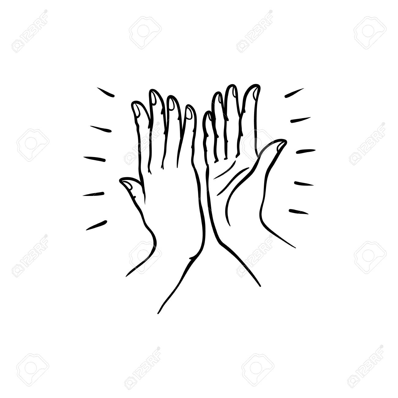 Hand gesture of two people giving each other high five in sketch style isolated on white background. Hand drawn black line vector illustration of hands palms joining together. - 102124591