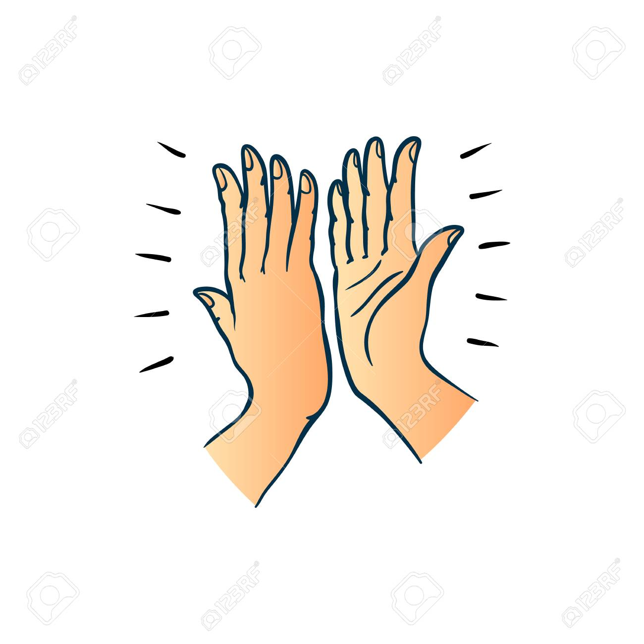 Hand gesture of two people giving each other high five in sketch style isolated on white background - colorful hand drawn vector illustration of hands palms joining together. - 101969600