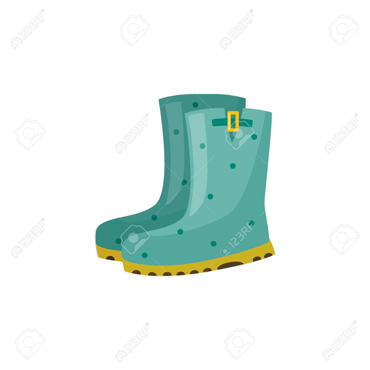 Pair of rubber boot in turquoise color - waterproof autumn footwear for seasonal design in flat style. Isolated vector illustration of gumboots for protection against water and puddles. - 104140140