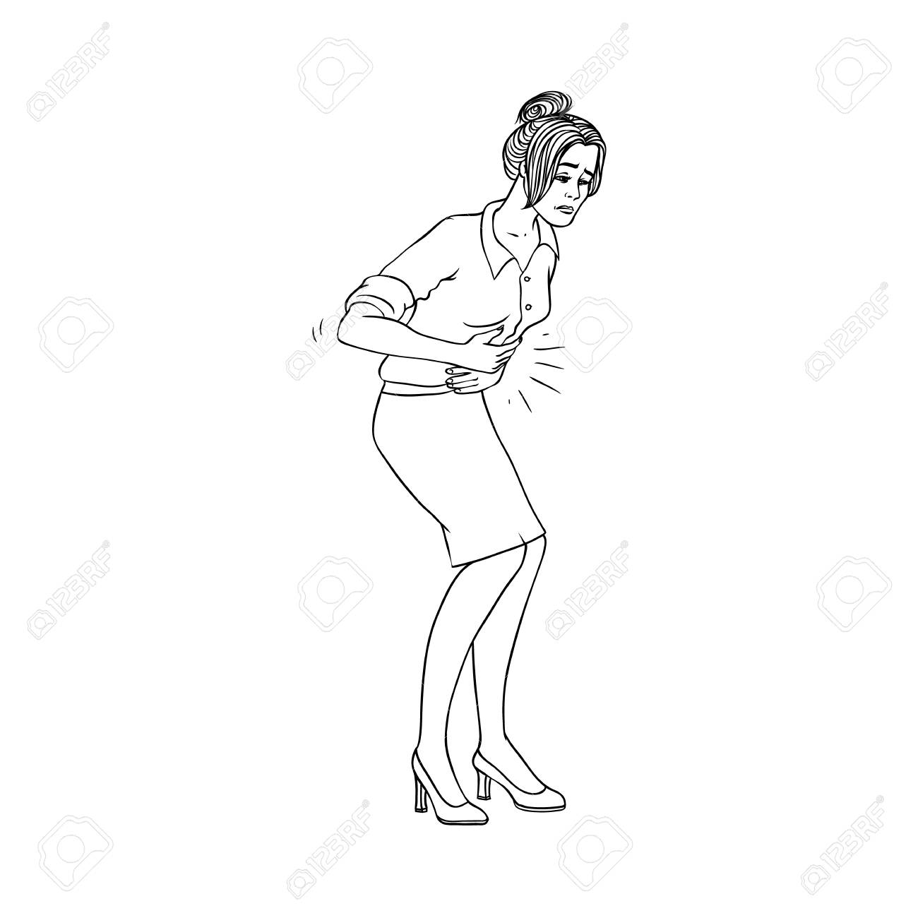 young woman with stomachache isolated on white background black royalty free cliparts vectors and stock illustration image 114967837 young woman with stomachache isolated on white background black