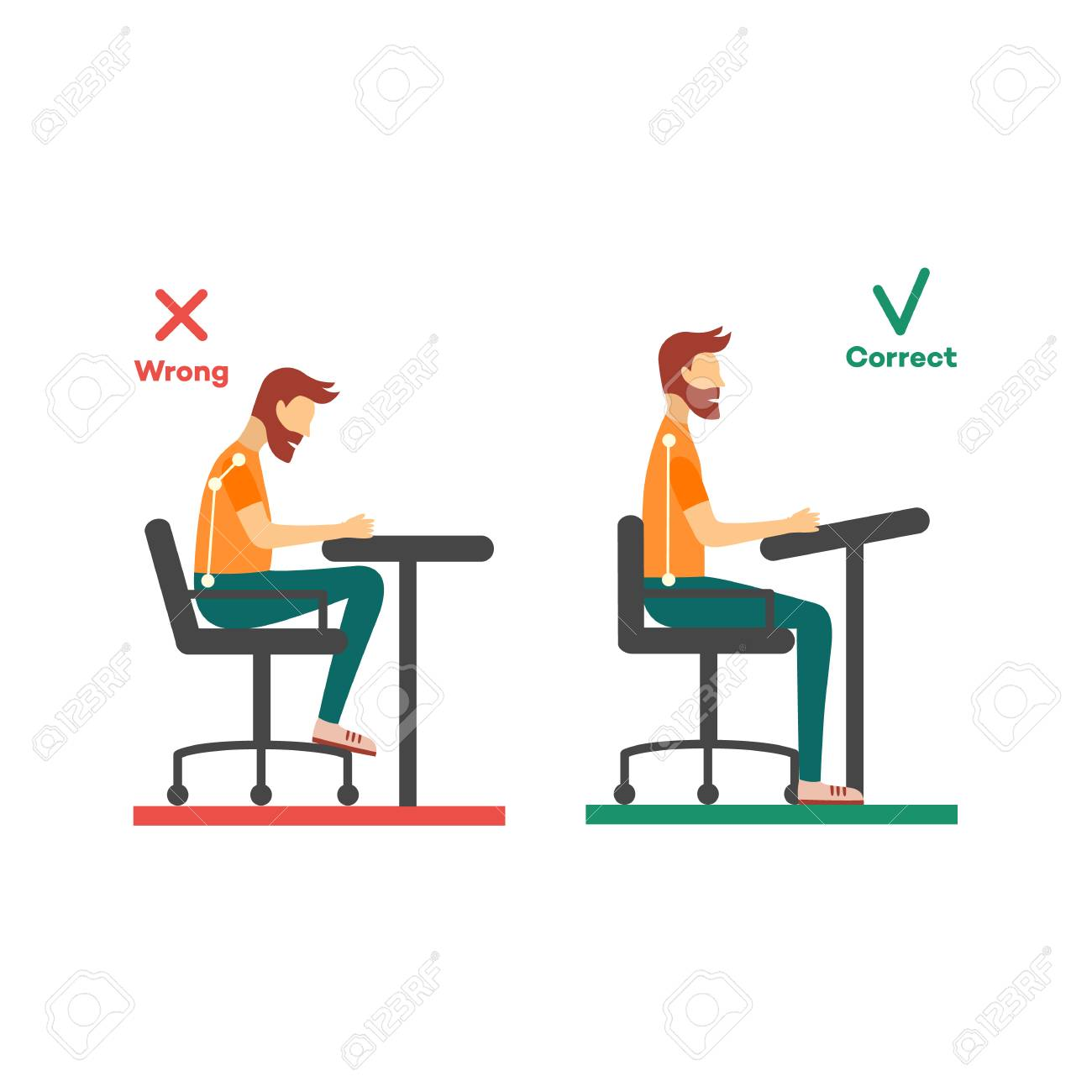 Correct, incorrect neck, spine alignment of young cartoon man character sitting at desk. Head bending positions, inclination of neck. Spine care concept. Vector isolated illustration - 114935901