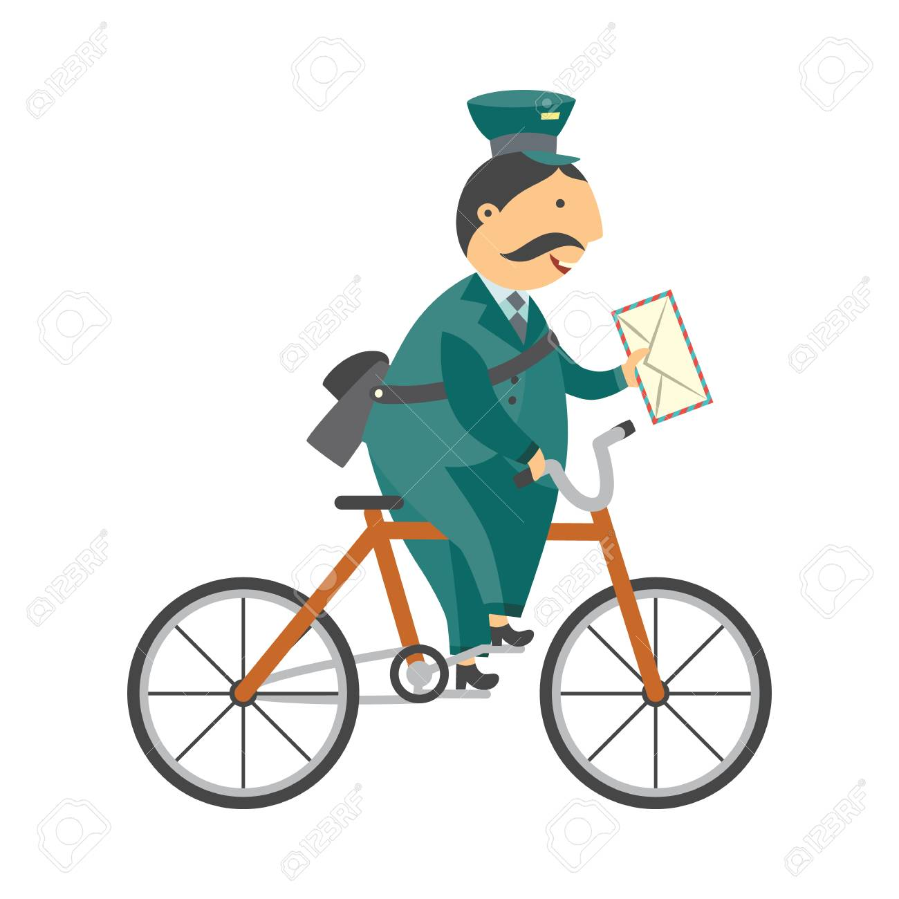 Cartoon postman cheerful character standing delivering parcel box by bicycle. Man in professional green uniform peaked cap. Delivery service worker, mailman. Vector illustration - 114865465