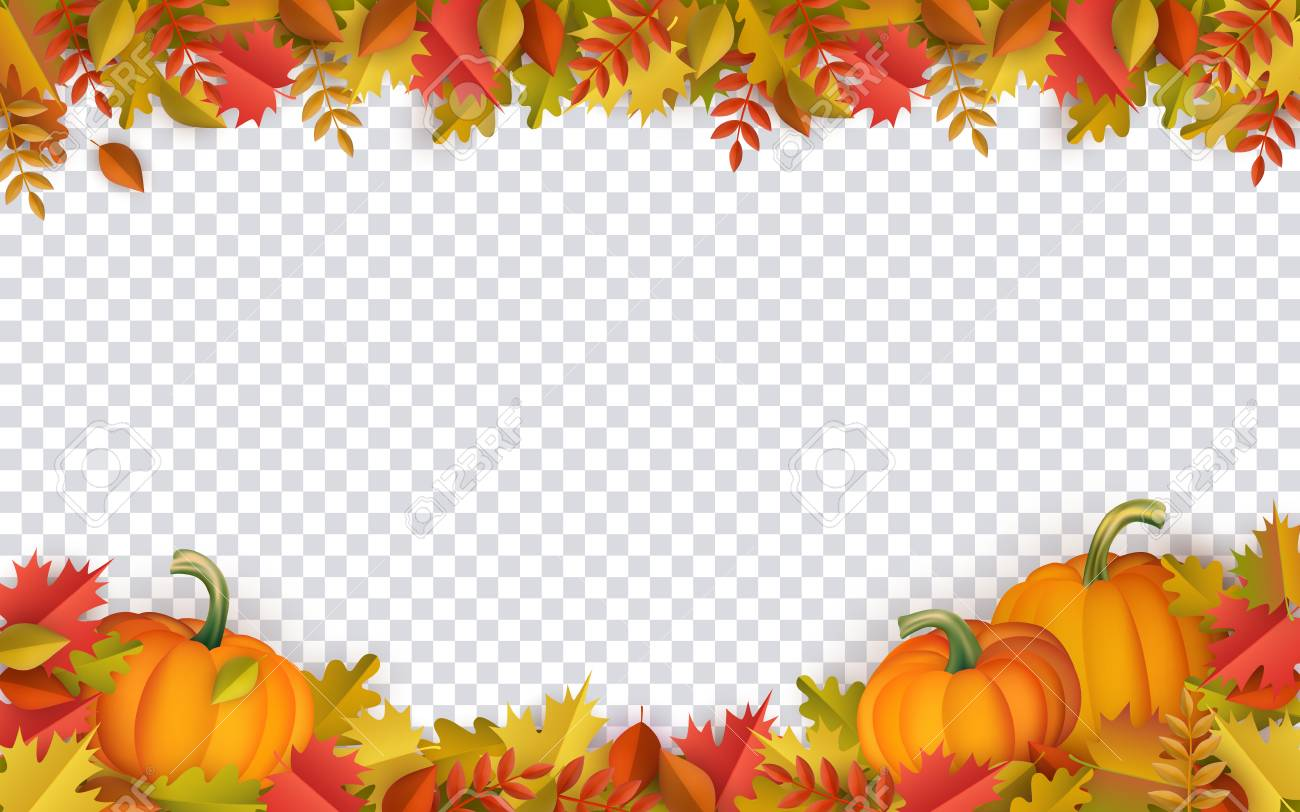 Autumn leaves and pumpkins border frame with space text on transparent background. Seasonal floral maple oak tree orange leaves with gourds for thanksgiving holiday, harvest decoration vector design. - 105228956