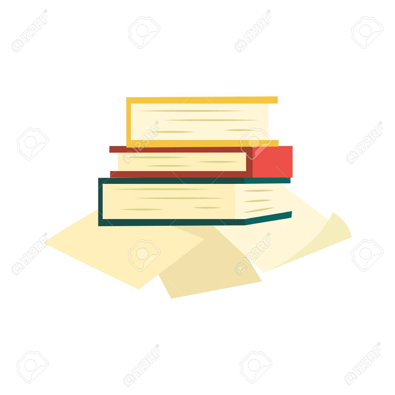 Pile Of Books With Colorful Hardcover And Paper Document Pages