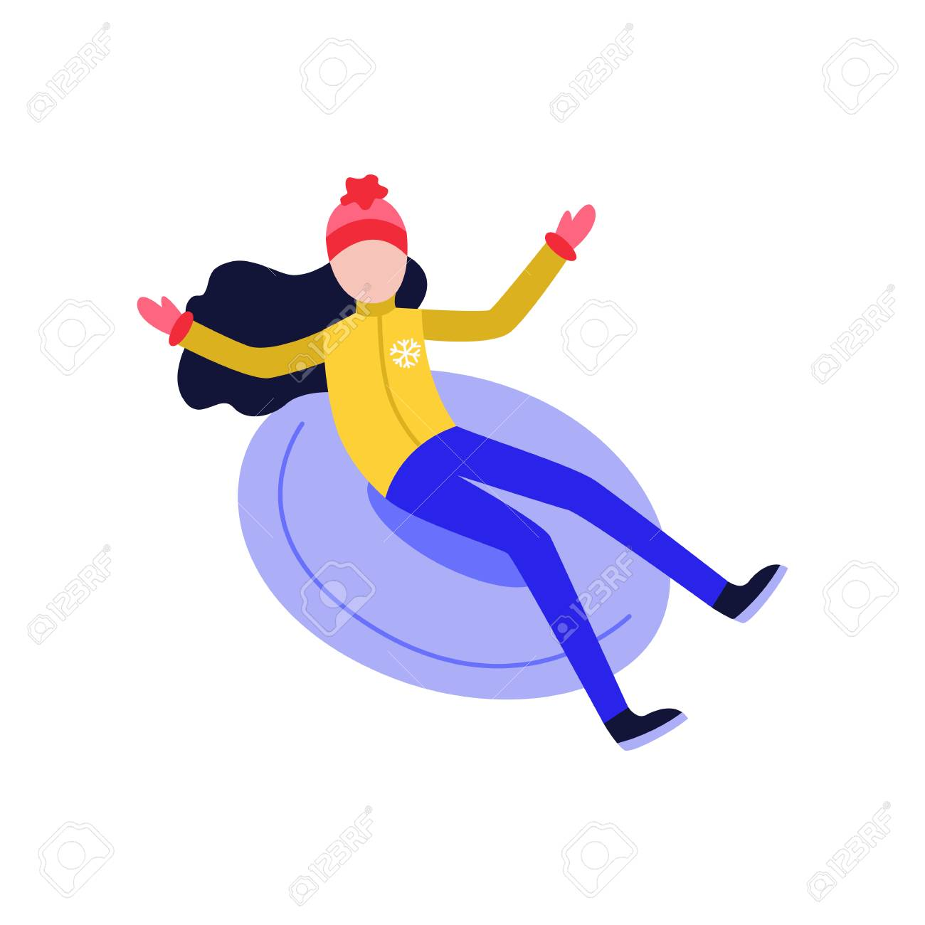 Flat girl in hat sledging at inflatable tube, snowtubing outdoors in winter in warm clothing and long black hairs. Female character, woman and leisure activity. Vector illustration. - 114776397