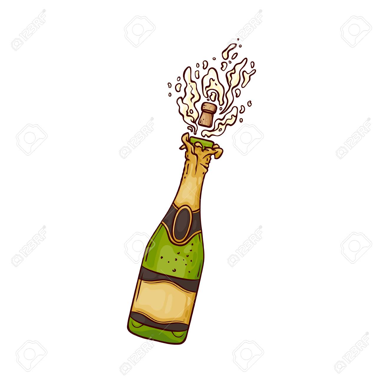 Champagne bottle pop glyph icon alcohol Royalty Free Vector