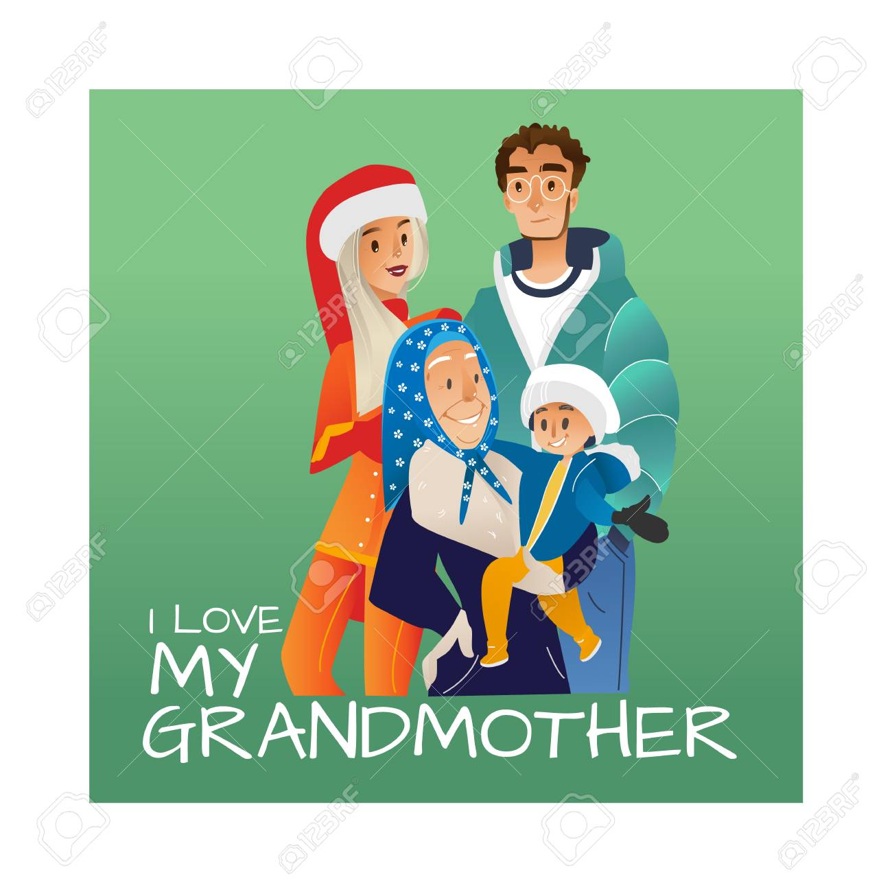 Vector I Love My Grandmother Poster With Cartoon Family Hugging Royalty Free Cliparts Vectors And Stock Illustration Image 128169592