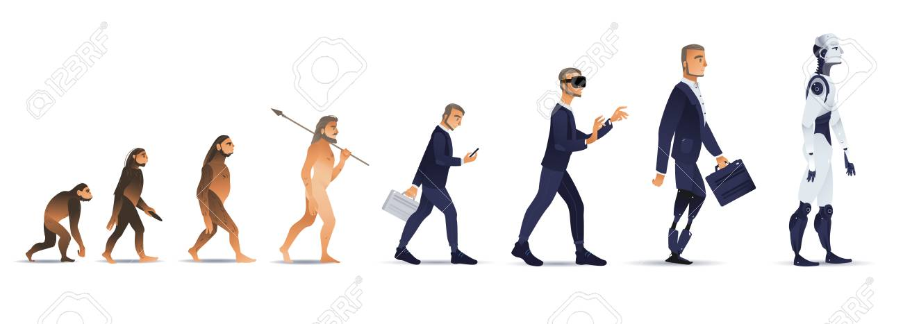Vector evolution concept with ape to cyborg and robots growth process with monkey, caveman to businessman in suit wearing VR headset, artificial legs person and robotic creature. Mankind development - 112121487