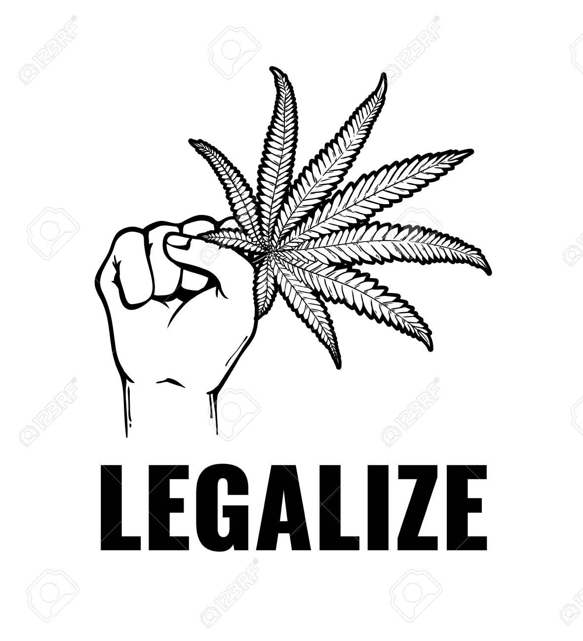 Vector monochrome hand holding cannabis leaf with legalize inscription