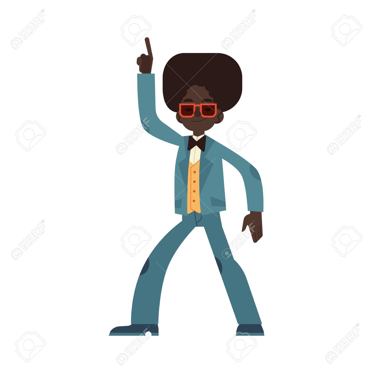 Vector illustration of african man dancing disco in flat cartoon style - male character wearing cloth and hair in 70s fashion style doing dance moves and having fun isolated on white background. - 126844679